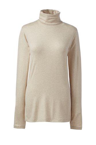 Women's Regular Cotton/Modal Metallic Roll Neck