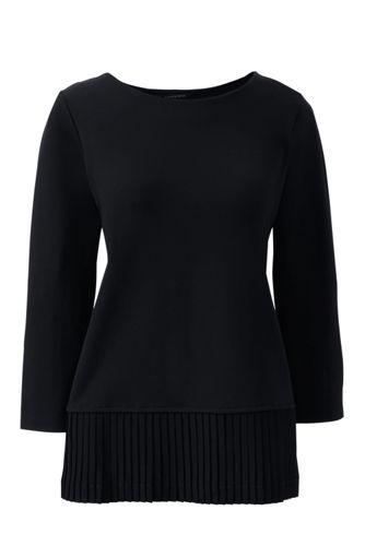 Ponté-Shirt mit Plissee-Rückseite