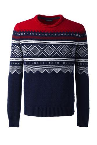 Lambswool-Pullover mit klassischem Fairisle-Muster für Herren