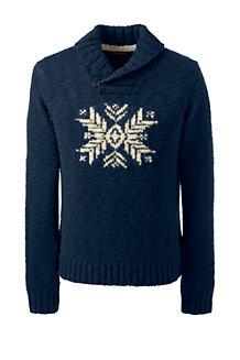 Schalkragen-Pullover aus Wolle mit Schneeflocke für Herren