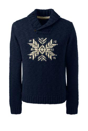 Men's Regular Snowflake Shawl Collar Wool Sweater