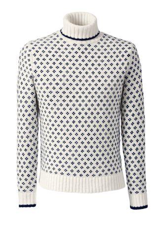 Men's Regular Wool/Mohair Birdseye Roll Neck Sweater