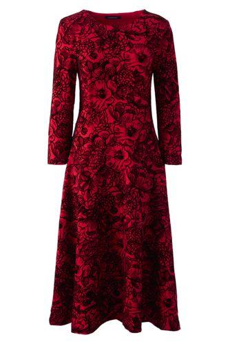 Beflocktes Ponté-Kleid mit 3/4-Ärmeln für Damen