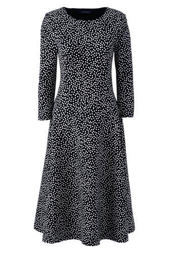 La Robe Ponté à Pois Manches 3/4, Femme Stature Standard