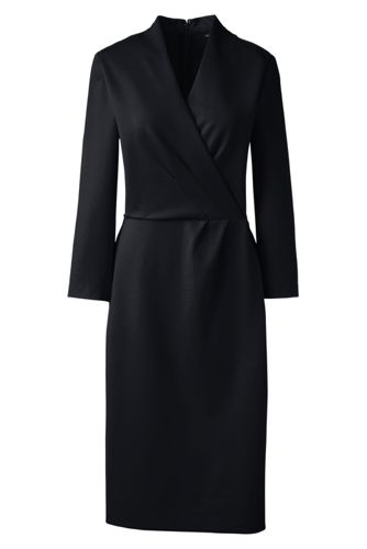 Women's Regular Ponte Jersey Tucked Wrap Dress