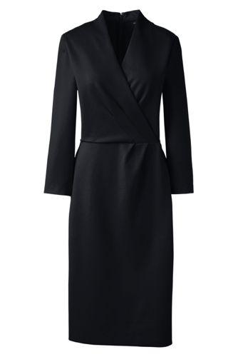 La Robe Ponté à Corsage Croisé et Manches 3/4, Femme Stature Standard