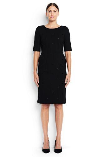La Robe Ponté avec Perles, Femme Stature Standard
