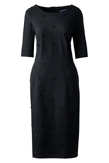 Women's Beaded Trim Ponte Jersey Dress