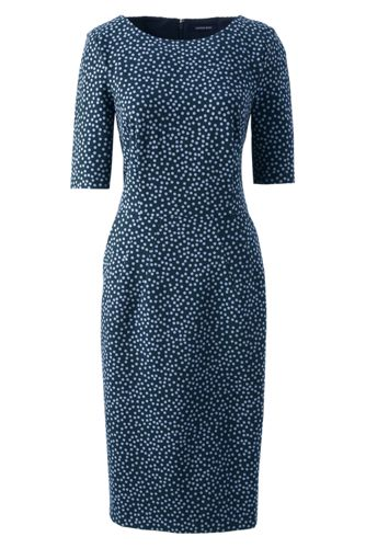 Women's Regular Pattern Ponte Jersey Darted Dress