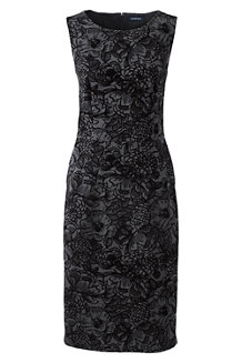 Women's Flock Print Ponte Jersey Darted Dress