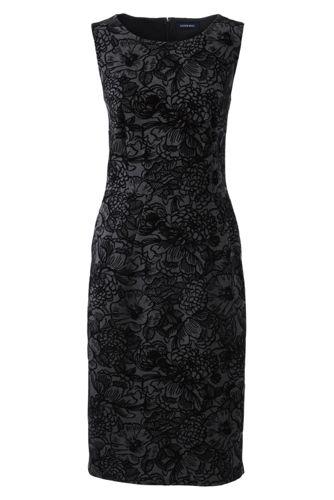 La Robe Ponté Flocage Fleuri Sans Manches, Femme Stature Standard