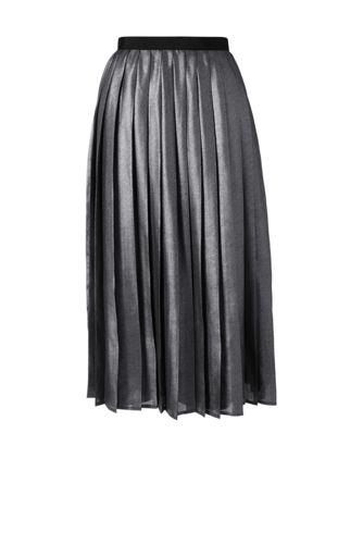 Women's Regular Pleated Foil Print Midi Skirt