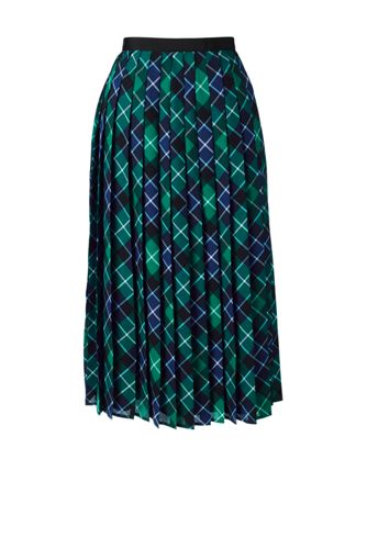 Women's Regular Pleated Plaid Midi Skirt