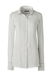 Women's Long Sleeve Stripe Crepe Blouse