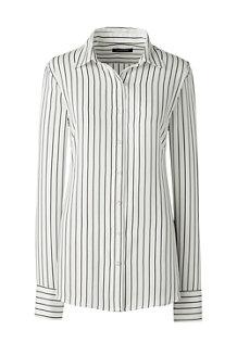 Women's Long Sleeve Stripe Crepe Blouse