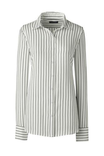 Women's Regular Long Sleeve Stripe Crepe Blouse