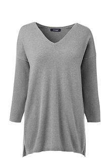 Langer Kaschmir-Pullover mit V-Ausschnitt für Damen