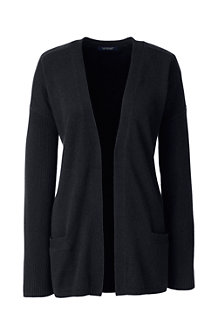 Women's Cashmere Ribbed Open Cardigan