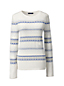 Women's Regular Cashmere Striped Open Crew Neck