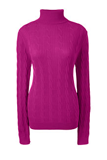 Women's Fine Gauge Cable Roll Neck Jumper