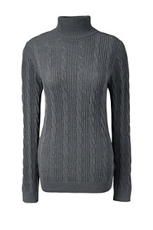 Women's Fine Gauge Cable Roll Neck