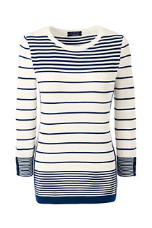 Le Pull Supima Rayures Intarsia Manches 3/4, Femme