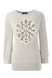 Women's Supima Snowflake Crew Neck Jumper