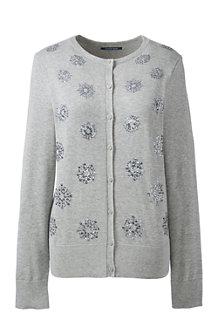 Women's Fine Gauge Supima Embellished Cardigan