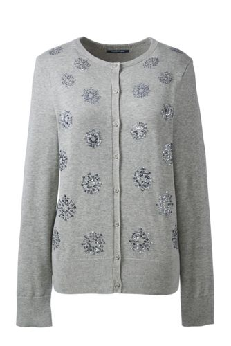 Women's Regular Fine Gauge Supima Embellished Cardigan