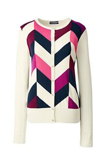 Supima Feinstrick-Cardigan mit Muster-Intarsien für Damen