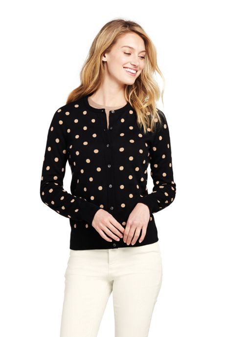 Women's Petite Supima Intarsia Cardigan Sweater