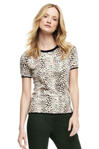 Women's Print Supima Fine Gauge Jewelneck Jumper