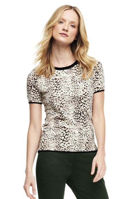 Women's Tall Supima Print Jewelneck Sweater