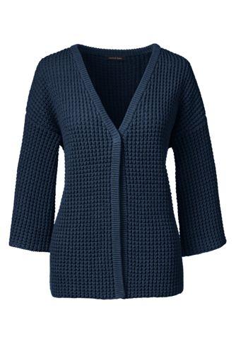 Women's Regular Lofty Cotton Textured V-neck Cardigan