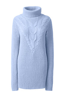 Women's Blend Cotton Chevron Cable Roll Neck Jumper