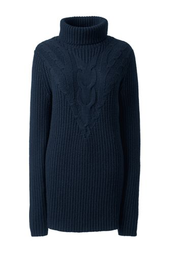 Women's Regular Blend Cotton Chevron Cable Roll Neck Jumper