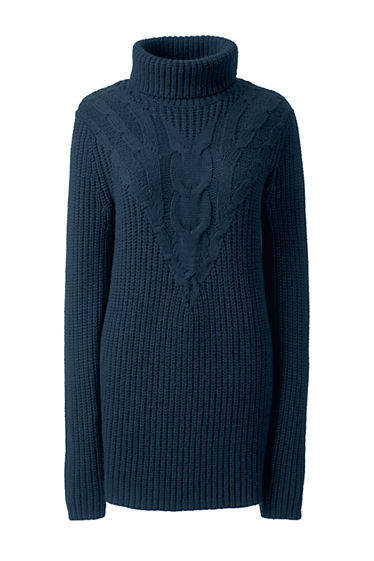 Women's Lofty Cable Turtleneck Tunic Sweater from Lands' End