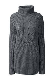 Women's Blend Cotton Chevron Cable Roll Neck