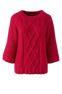 Aran-Pullover mit U-Boot-Ausschnitt im Baumwoll-Merino-Mix für Damen