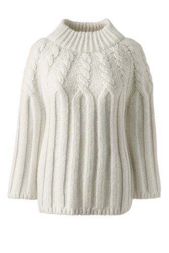 Women's Regular Wool Blend Cable Funnelneck Jumper