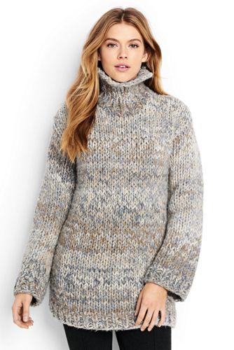 Women's Regular Hand Knit Wool Blend Roll Neck Jumper