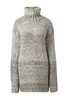 Women's Hand Knit Wool Blend Roll Neck Jumper