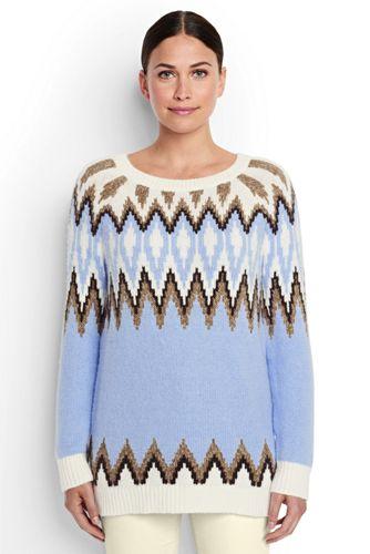 Langer Fairisle-Pullover im Baumwoll-Merino-Mix für Damen