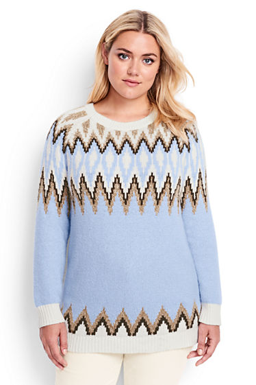 Women's Wool Blend Fair Isle Tunic Sweater from Lands' End