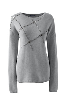 Women's Wool Blend Embellished Crew Neck Jumper