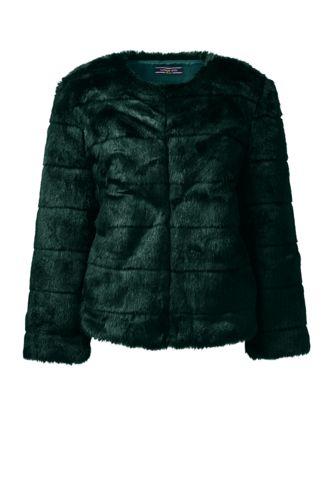 Lands' End Women's Regular Faux Fur Jacket - 10, Green