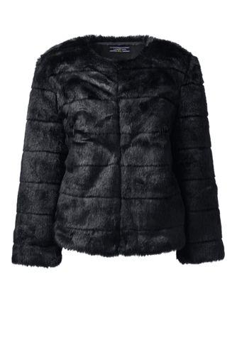 Lands' End Women's Regular Faux Fur Jacket - 8, Black