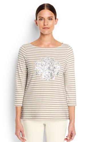 Women's Regular Sequin Motif Stripe Top