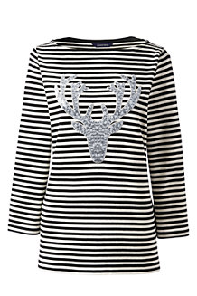 Women's Sequin Motif Stripe Top