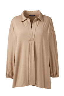 Women's Lightweight Cotton Modal Pleat Front Popover